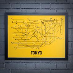 Line Posters Tokyo Screen Print Wall Art - 1003-YEBK-A
