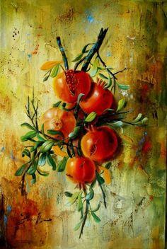 Pomegranates Still Life Painting Original Oil painting on