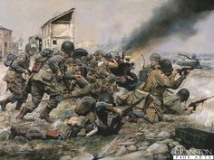 Fighting for a Foothold, 82nd Airborne at St Mere Eglise, 1944 by Chris Collingwood. (Y) - Cranston Fine Arts Aviation, Military and Naval Art