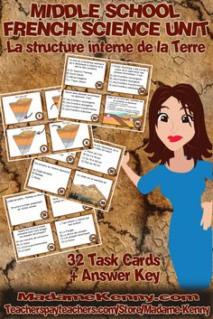 Our latest product is 32 print and go middle school French Science task cards focused on La structure interne de la Terre. This set of task cards includes 32 task cards, 2 blank task cards for customizing and creating your own to add to the set, the answer key and a student answer sheet in both color and b&w. For more information about our latest print and go product click...https://www.teacherspayteachers.com/Product/French-Science-Task-Cards-Cartes-a-taches-2981821