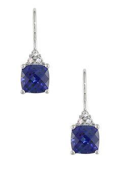 Gorgeous! Sapphire Cushion & Diamond Earrings