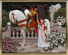 """Jackson's main go-to man for over-the-top portraits of himself was David Nordahl. Over a 17-year period, Jackson commissioned flamboyant paintings such as """"Camelot"""", a 1995 portrait of Michael Jackson and his wife Lisa Marie Presley. Picture: AP"""