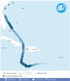 Hurricane #Matthew Tracker and Predicted Path Predicted locations represent the center of the hurricane, not the total area affected by the hurricane. Predictions are updated every 12 hours  #Tel3 Our fees start on 1c depending on the country, click here and find out your rate http://www.tel3.com/main.jsp