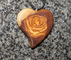 Olive Wood Pendant wood jewelryHeart by OliveWoodJewellery on Etsy, $20.00