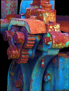 "Rusted Machinery | E.J. Lefavour. Photographer wrote: ""Definitely photoshop. When I enhanced the rust, all the other colors popped out; so I left them. I thought it made it a lot prettier than a plain old rusted machine part."""