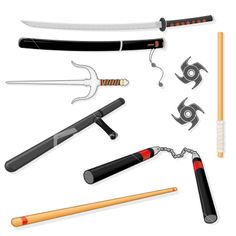 Martial arts weapons--take careful note that all four ninja turtles are represented here.