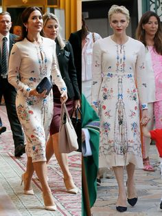 Princess Mary of Denmark attended a business seminar at Hotel Gajoen Tokyo, wearing Vilshenko in Oct Princess Charlene of Monaco wore the same dress in Sep though she wore black pumps as opposed to nude, at Monaco's traditional end-of-summer picnic. Crown Princess Victoria, Crown Princess Mary, Princess Beatrice, Carolina Herrera, Mary Donaldson, Fashion Models, Fashion Styles, Fashion Fashion, Street Fashion