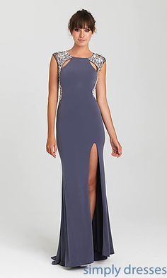 Floor Length High Neck Cap Sleeve Madison James Gown