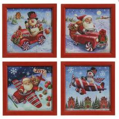 """RAZ Framed Santa & Snowman Prints Set of 4  4 Assorted Prints Set includes one of each Red Made of Fir Measures 14"""" X 14"""" X 1"""" Artist: Geoff Allen   RAZ Exclusive  RAZ 2015 Peppermint Toy Collection"""