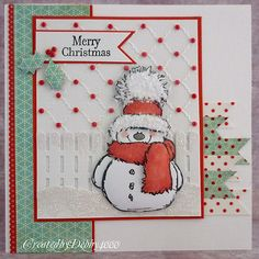 Penny Black snowman with fence scene - bjl