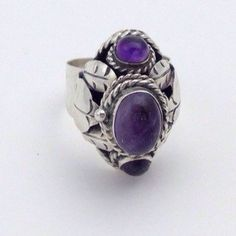 Mexico Silver Poison Ring Size 8  Amethyst and by LoftyMixVintage