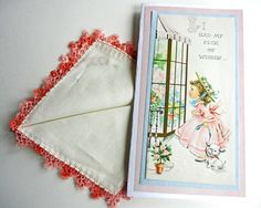 Card with Vintage Handkerchief Handmade Birthday Card Pick of Wishes Hanky Hankie with Embroidery and Tatted Edge: This OOAK card was created by the shop owner and was made in 2016. My cards combine vintage and modern. The vintage elements to this card are that much of it is upcycled from a vintage card and the the enclosed linen handkerchief is vintage. Those items are estimated to be from the 1950s. The handkerchief includes beautiful hand work and is approximately 11 inches square. It…