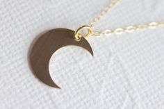 Gold Moon Necklace MIDNIGHT in GOLD Crescent Gold by madebymoe, $26.00