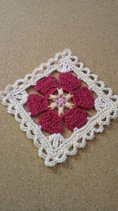 Square Motif for Blanket Crochet Squares, Crochet Blocks, Granny Square Crochet Pattern, Crochet Flower Patterns, Crochet Stitches Patterns, Crochet Granny, Crochet Motif, Crochet Flowers, Crochet Afgans