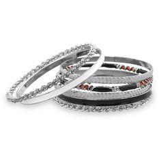 Set of 7 Silver Tone Fashion Bangle Bracelets with Red, Black, and White Enamel