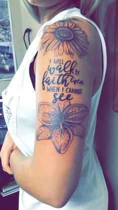 Flowers with quote tattoo