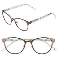 kate spade new york 'ebba' 50mm reading glasses (950 ZAR) ❤ liked on Polyvore featuring accessories, eyewear, eyeglasses, glasses, brown mint, lightweight eyeglasses, lens glasses, reading glasses, kate spade eye glasses and kate spade eyeglasses