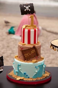 LAURA'S little PARTY: Pirate party on the beach! Pirate cake