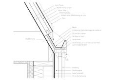Detail- Huus og Heim Arkitektur AS Technical Architecture, Architecture Collage, Architecture Drawings, Architecture Details, Mansard Roof, Arch House, Building Section, Arch Model, Roof Detail