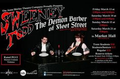 """""""Cut-throat musical theatre -- a review of Sweeney Todd"""" by Sam Tweedle // Triumphant Anne Shirley Theatre Company production runs March 13 to 21 at the Market Hall in Peterborough."""