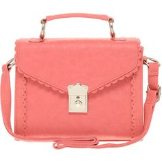 Asos Scallop Edge Satchel ($35) ❤ liked on Polyvore featuring bags, handbags, accessories, purses, bolsas, red handbags, pu handbag, handbag purse, red purse and satchel purses