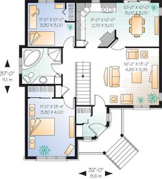 37x32w First Floor Plan of Bungalow   Traditional   House Plan 76156