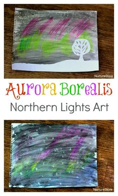 A clever kids art technique to create the Northern Lights aurora borealis