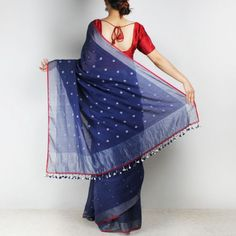 Handwoven Khadi Cotton Indigo Blue Saree with circular Motifs