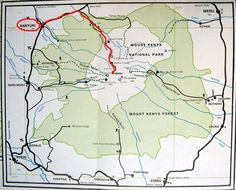 Map showing our trekking route from Nanyuki to Mount Kenya.  Nariobi is about 150km   south of this map.