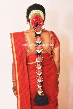 Order Fresh flower poolajada, bridal accessories from our local branches present over SouthIndia, Mumbai, Delhi, Singapore and USA. Telugu Brides, Telugu Wedding, Indian Flowers, Hindu Bride, South Asian Bride, Flower Garlands, Jada, Indian Bridal, Bridal Accessories