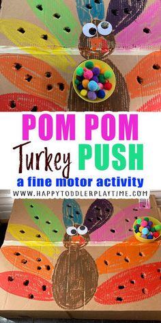 Pom Pom Turkey Push - HAPPY TODDLER PLAYTIME