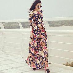 Women's Flower Print Long Sleeve Maxi Dress -