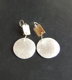 Silver Disks with Bronze Earrings, Big Circles, Bold, Mixed Metal Earrings, Modern Jewelry Tribal Earrings, Big Earrings, Drop Earrings, Modern Jewelry, Silver Jewelry, Confirmation Gifts, Stamp Making, Moon Necklace, Handcrafted Jewelry