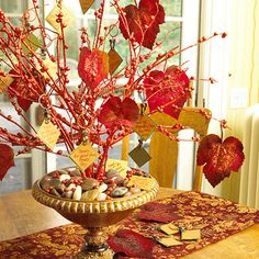 Show your guests that you're thankful for them this fall with a tabletop tree full of leaves and personal messages.