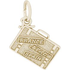 France, Italy, Spain Suitcase Charm (Choose Metal) by Rembrandt ($25) ❤ liked on Polyvore featuring jewelry, pendants, metal jewelry, rembrandt charms, charm pendant, metal charms and charm jewelry