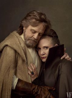 Carrie Fisher as Leia Organa with her daughter Billie Lourd as Lieutenant Kaydel Ko Connix and Mark Hamill as Luke Skywalker, photographed by Annie Leibovitz for Vanity Fair.