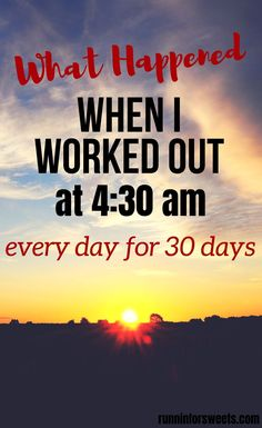 You won't believe what happened when I worked out at am every day for 30 days. If you've always wanted to work out in the mornings but have never been able to wake up early, this strategy will be a game changer. Morning Workout Motivation, Running Motivation, Fitness Motivation, Fitness Quotes, Fitness Goals, Losing Weight Tips, Best Weight Loss, How To Lose Weight Fast, 5am Club