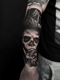 Evil Tattoos, Skull Tattoos, Animal Tattoos, Life Tattoos, Tattoos For Guys, Future Tattoos, Grey Tattoo, S Tattoo, Color Tattoo