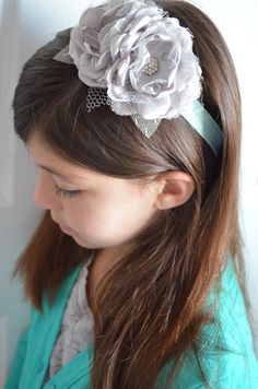 Tiffany Blue and Silver Elastic Headband  by TheVintageCabbgeRose, $12.00