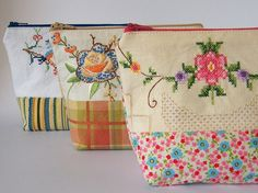 inspiration: fabric & embroidery bags - gorgeous!! (Using vintage tablecloths?)