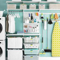 Great use of Elfa utility in the laundry room. Available through the Container Store.