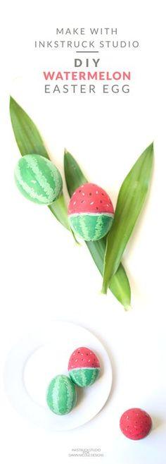 Create a super fun DIY watermelon easter egg with gouache paints - Inkstruck Studio for DawnNicoleDesigns.com