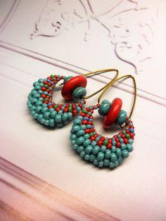 Coral Red Turquoise Seed Beads Dangle Brass Hoop Dangle Beaded Earrings