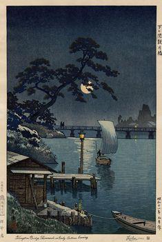 hanga gallery . . . torii gallery: Kangetsu Bridge, Shimonoseki on Early Autumn Evening by Tsuchiya Koitsu