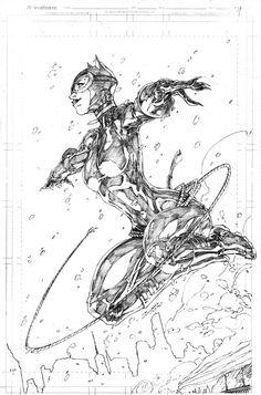 Catwoman by Brett Booth Comic Art Comic Book Artists, Comic Book Characters, Comic Artist, Comic Books Art, Illustration Au Crayon, Art Sketches, Art Drawings, Brett Booth, Bd Comics