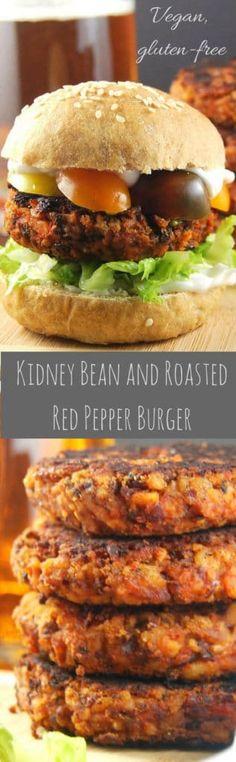 Kidney Bean and Roasted Red Pepper Burger, grillable veggie burger #vegan #glutenfree #veggieburger