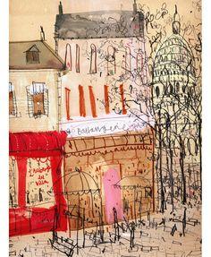 'Montmartre Paris' Clare Caulfield Giclee print 30 x 40 cm Edition size 195 £130