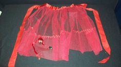 Vintage Red Tulle and Satin Ribbon Christmas Apron with Bells!