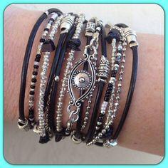 Boho Chic Black Leather Evil Eye Wrap Bracelet by DesignsbyNoa, $38.00 multi-strand with toggle clasp