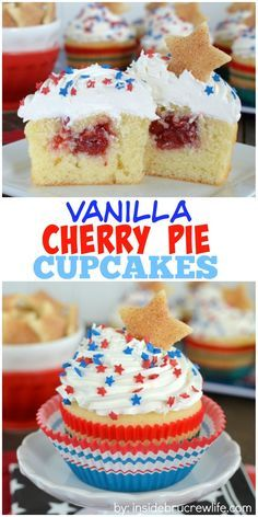 These homemade vanilla cupcakes have a hidden pocket of cherry pie filling that will make every one smile when they find it.  Delicious picnic dessert!